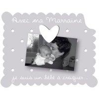 Cadre photo bébé à poser avec ma marraine gris