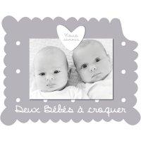 Cadre photo bébé à poser jumeaux gris
