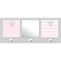 Patère chambre bébé avec miroir et porte-photos 2 vues bébé chic rose