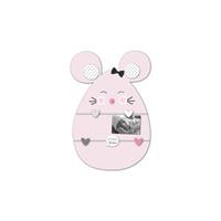 Pele-mêle bébé 5 vues souris rose