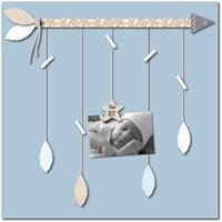 Pêle-mêle bébé 5 vues vent de plumes bleu et gris