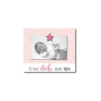 Cadre photo bébé à poser une étoile est née rose