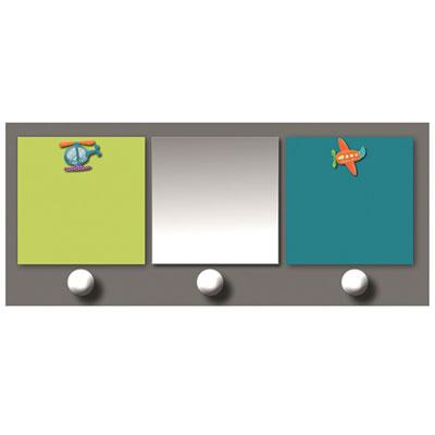 Patère chambre bébé avec miroir et porte-photos 2 vues p'tits pilotes Titoutam