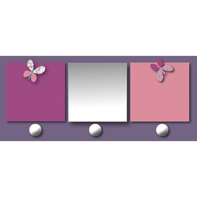 Patère chambre bébé avec miroir et porte-photos prunelle mademoiselle Titoutam