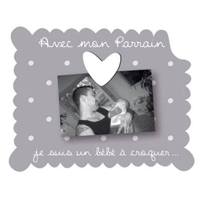 Cadre photo bébé à poser avec mon parrain gris Titoutam