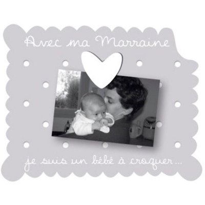Cadre photo bébé à poser avec ma marraine gris Titoutam
