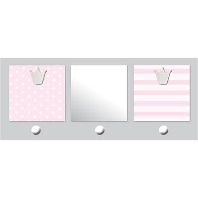 Patère chambre bébé avec miroir et porte-photos 2 vues bébé chic rose Titoutam