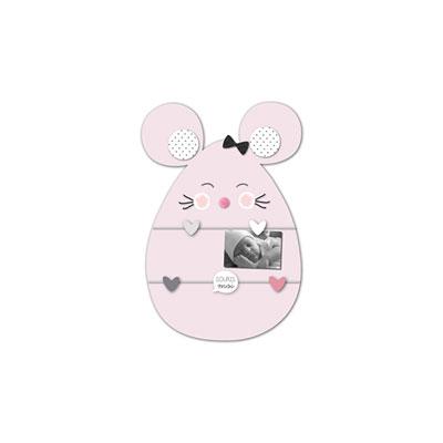 Pele-mêle bébé 5 vues souris rose Titoutam