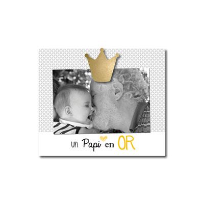 Cadre photo bébé à poser un papi en or Titoutam