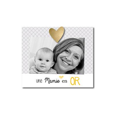Cadre photo bébé à poser une mamie en or Titoutam