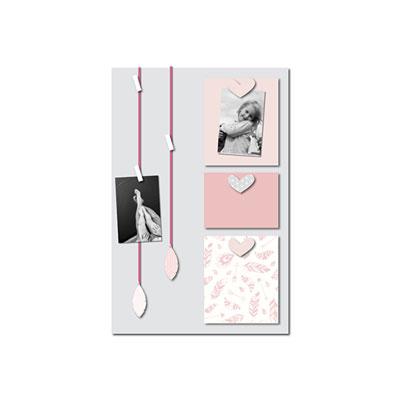 Pêle-mêle bébé 6 vues vent de plumes rose et gris Titoutam