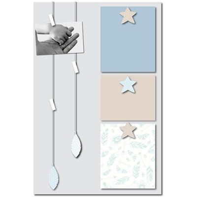 Pêle-mêle bébé 6 vues vent de plumes bleu et gris Titoutam