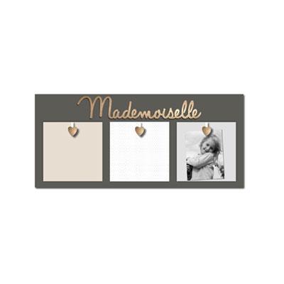 Pêle-mêle 3 vues princesse et mademoiselle gris et lettres dorées Titoutam