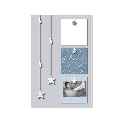 Pêle-mêle bébé 6 vues des étoiles plein les yeux gris et bleu Titoutam