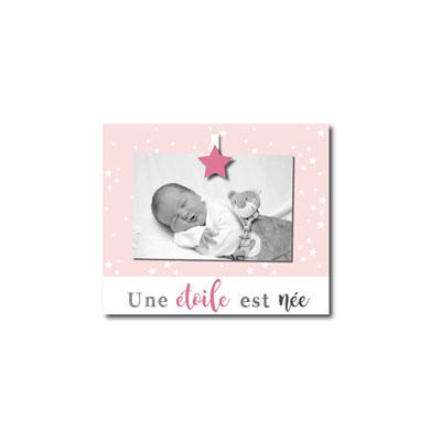 Cadre photo bébé à poser une étoile est née rose Titoutam