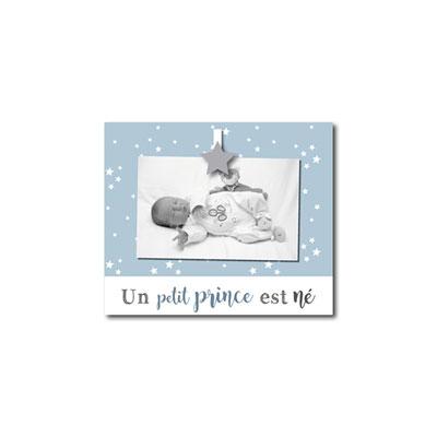 Cadre photo bébé à poser un petit prince est né bleu Titoutam