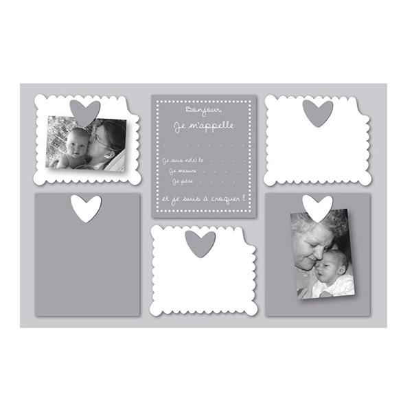 Pêle-mêle bébé 5 vues personnalisable naissance bébé à croquer gris Titoutam