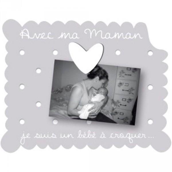 Cadre photo bébé à poser avec ma maman gris Titoutam
