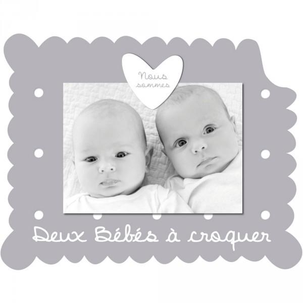 Cadre photo bébé à poser jumeaux gris Titoutam