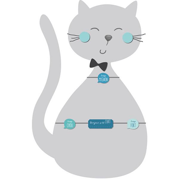 Pêle-mêle bébé 4 vues personnalisable p'tit chat bleu Titoutam