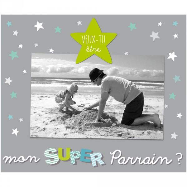 Cadre photo bébé à poser veux-tu être mon super parrain Titoutam
