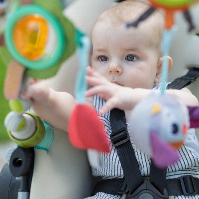 Jouet de voyage bébé arche articulée musicale nature dans la fôret Tiny love