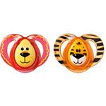 Lot de 2 sucettes silicone fun 6-18 mois lion/tigre pas cher