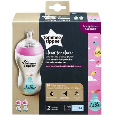 Lot de 2 biberons closer to nature décoré fille 340 ml Tommee tippee