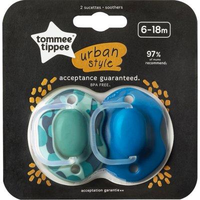 Lot de 2 sucettes urban style 6-18 mois bleu / vert Tommee tippee
