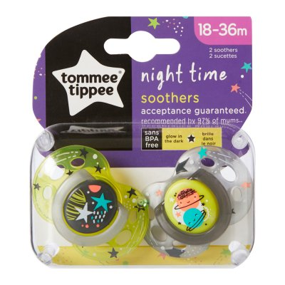 Lot de 2 sucettes night 18-36 mois Tommee tippee