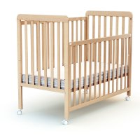 Lit bébé coulissant 60x120 cm confort hêtre verni