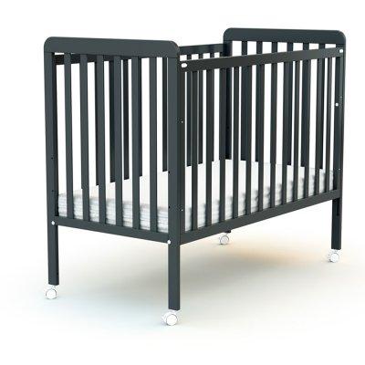 Lit bébé coulissant 60x120 cm confort gris graphite At4