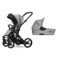Pack poussette duo evo chassis black bold pebble grey