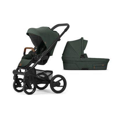 Pack poussette duo nio chassis black roues black pine green Mutsy