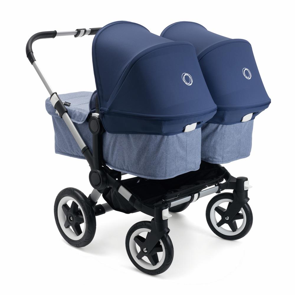 poussette jumeaux donkey2 twin alu avec habillages et nacelles bleu chin capotes bleu azur de. Black Bedroom Furniture Sets. Home Design Ideas