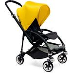 Poussette 4 roues bee3 châssis noir avec housse noir et capote jaune pas cher
