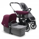 Poussette duo donkey2 mono alu habillage gris chiné + capote rouge rubis