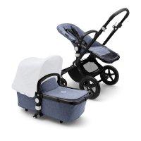 Pack poussette cameleon3+ châssis noir et habillages bleu chiné (sans capote)