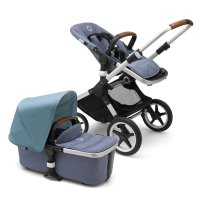 Pack poussette duo fox alu + style set et capote bleu chiné