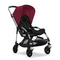 Poussette 4 roues bee5 châssis alu + style set noir et capote rouge rubis