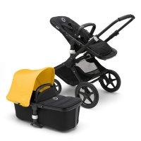 Pack poussette duo fox noir avec style set noir et capote jaune
