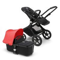 Pack poussette duo fox noir avec style set noir et capote rouge néon