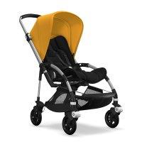 Poussette 4 roues bee5 châssis alu + style set noir et capote jaune