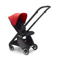 Poussette 4 roues ant noir avec style set noir et capote rouge néon