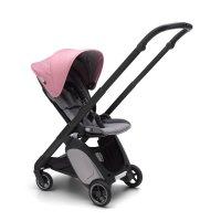 Poussette 4 roues ant noir avec style set gris chiné et capote rose chiné
