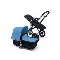 Pack poussette duo cameleon 3 + châssis et base noir avec capote et tablier bleu glacier