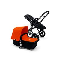 Pack poussette duo cameleon 3 + châssis et base noir avec capote et tablier orange