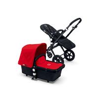 Pack poussette duo cameleon 3 + châssis et base noir avec capote et tablier rouge