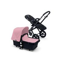 Pack poussette duo cameleon 3 + châssis et base noir avec capote et tablier rose pâle