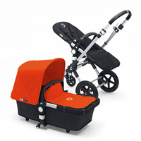 Pack poussette duo cameleon3+ châssis alu base noir capote + tablier orange